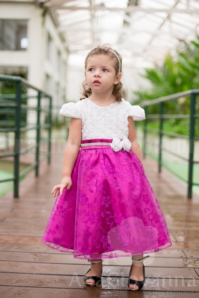 Vestido Rosa com Branco Princesa Ana Giovanna