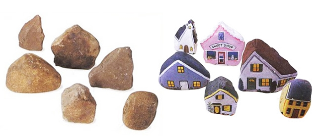 3 painted houses on rocks 2