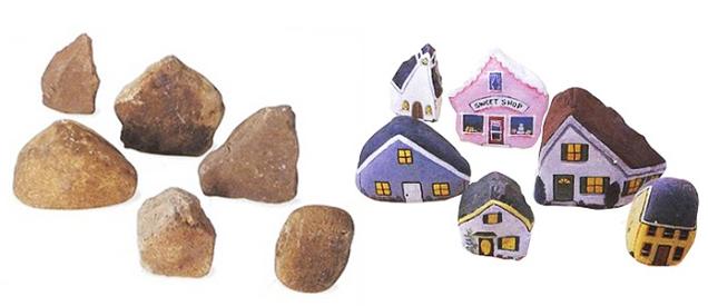 3 painted houses on rocks 2