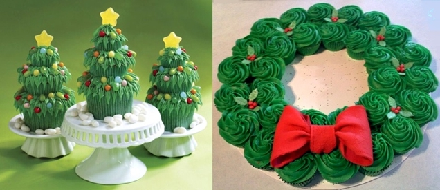 Christmas dinner ideas - Cupcake wreath,Christmas tree cupcakes