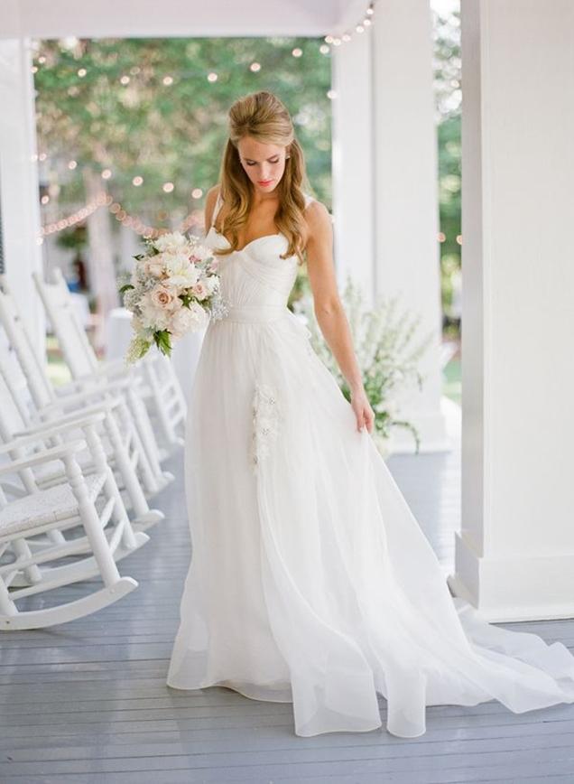 ultra-feminine-pretty-ivory-organza-rustic-wedding-dress-shoulder-straps-1