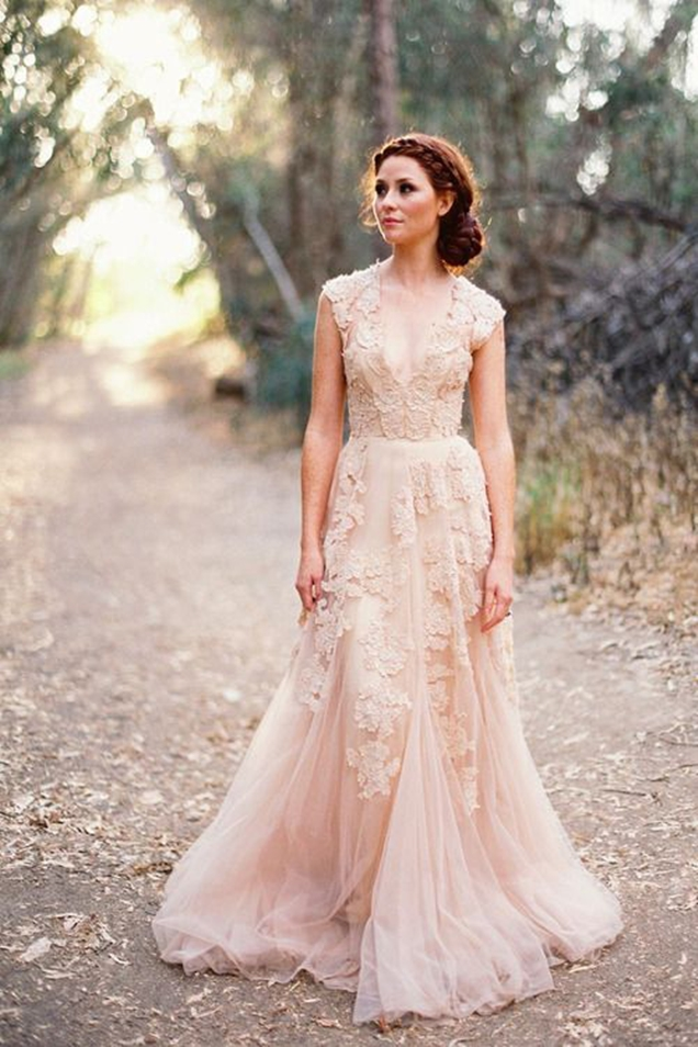 vintage-blush-pink-lace-v-neck-custom-cap-sleeve-a-line-wedding-dress-1