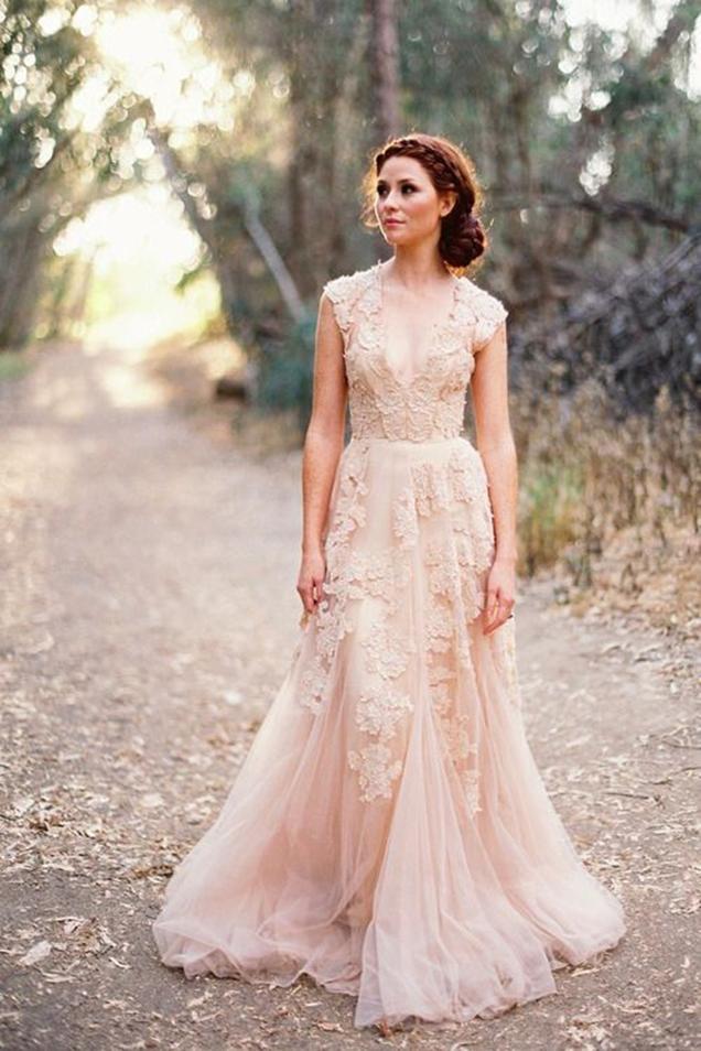 vintage-blush-pink-lace-v-neck-custom-cap-sleeve-a-line-wedding-dress-1