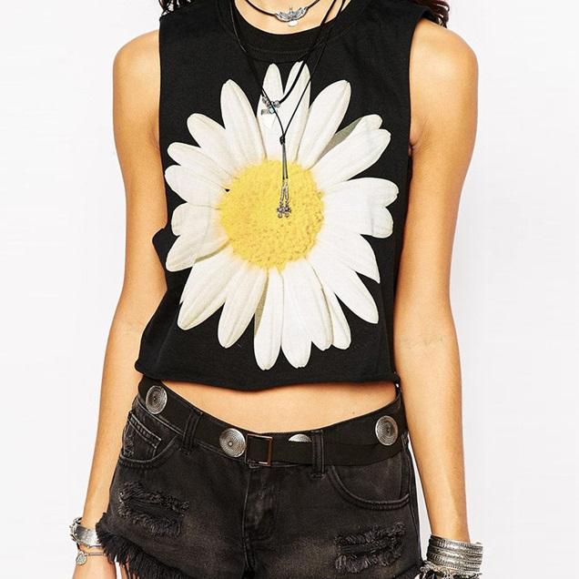 3D-Print-Daisy-Flower-Short-Design-Black-T-shirts-Plus-Size-Sleeveless-Women-T-shirts-2015