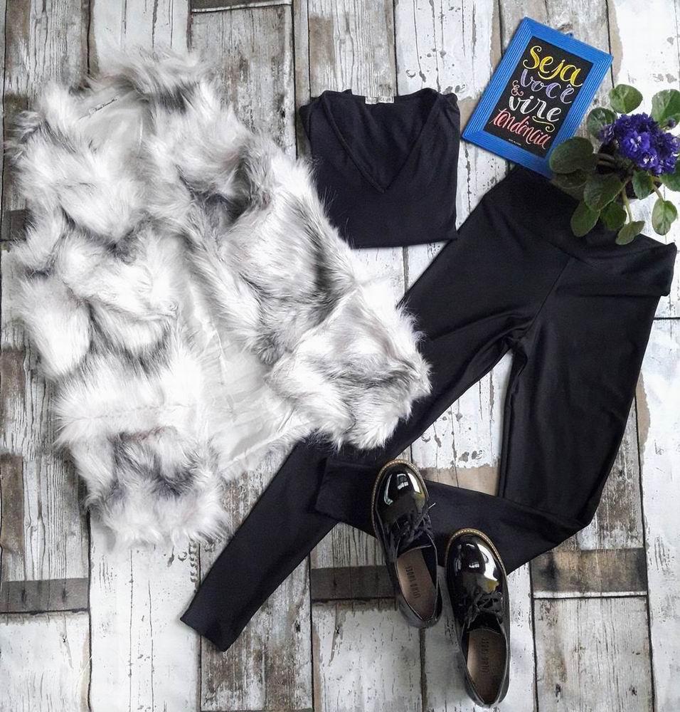 74ae68446 Colete Pelúcia alta mesclado preto e branco -  loja Amaro   Sapato Oxford  salto tratorado Michele calçados Feminino   Shopping Itaquera   MichelleCalçados