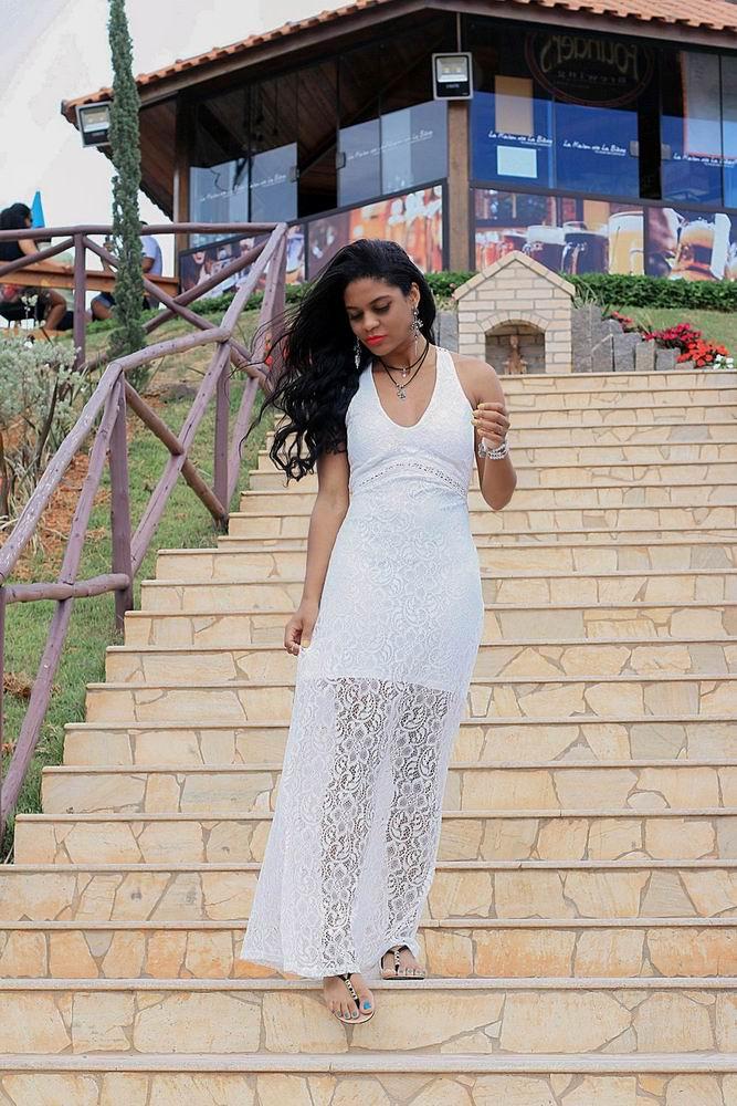 vestido branco renda longu